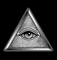 Eye triangle one traditional tattoo vector