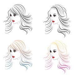 Fashion Hairstyles Lineart3 vector image