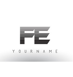 Fe f e black and white horizontal stripes letter vector