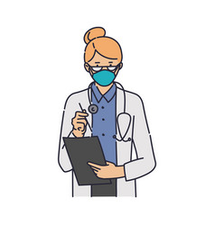 female doctor in medical mask reading clipboard vector image