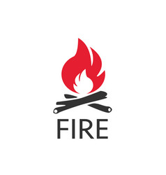 fire icon logo in flat style on a white background vector image
