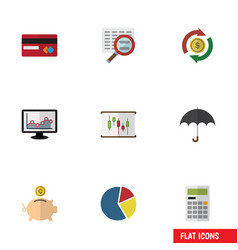 Flat icon finance set of payment money box vector