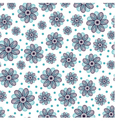 floral seamless pattern blue flower ornament vector image