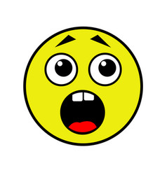 frightened smiley on a white background vector image