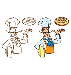 funny italian chef with pizza vector image