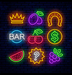 gaming neon icons for casinos vector image