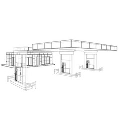 Gas station rendering of 3d vector