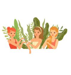 Girls test cosmetics from plants organic herbs vector
