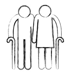 Grandparents couple avatars silhouettes vector