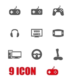 grey video games icon set vector image