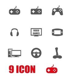 Grey video games icon set vector