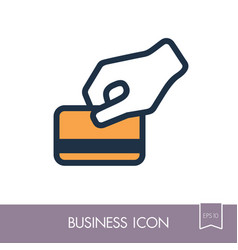 Hand swipe credit card during purchase icon vector