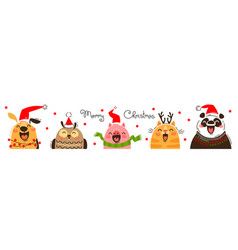 Happy animals in santa hats joyful dog owl pig vector