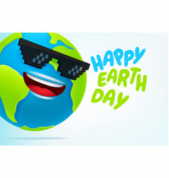 happy earth day concept 3d style funny earth with vector image