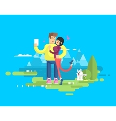 Happy married couple on vacation vector