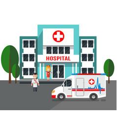 hospital building and ambulance car vector image
