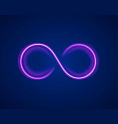 Infinity neon symbol on purple background vector