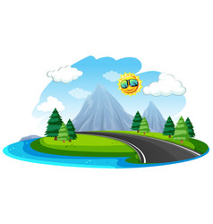 isolated beautiful nature road vector image