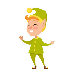 isolated cartoon christmas elf in green costume vector image