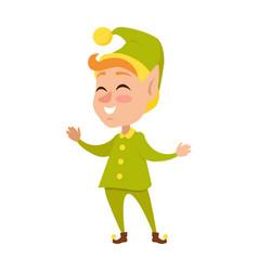 Isolated cartoon christmas elf in green costume vector