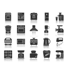Kitchen appliance black silhouette icon set vector