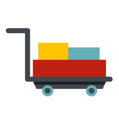 Luggage trolley with suitcases icon isolated vector