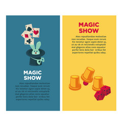 magic show vertical posters with rabbit and vector image