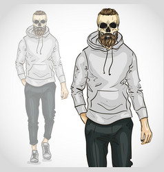 Man with skull and beard and moustaches vector