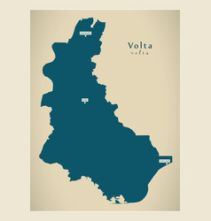 Modern map - volta region map ghana gh vector