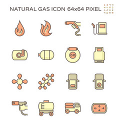 Natural gas and vehicle icon set design 64x64 vector