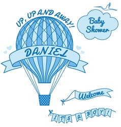 New baboy with hot air balloon vector