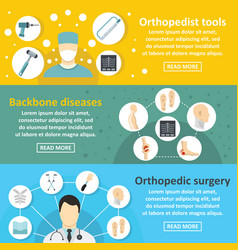 orthopedist care banner horizontal set flat style vector image