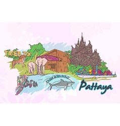 Pattaya doodles vector