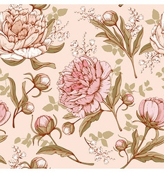 Peonies seamless pattern vector