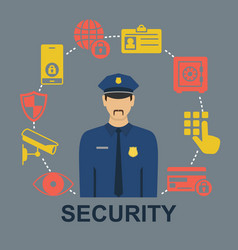 poster with security icons vector image