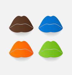Realistic paper sticker sexy lips vector