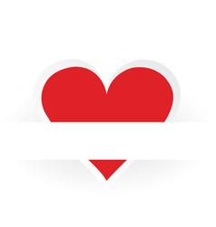 red heart sticker on paper background vector image