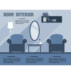 Room interior infographic template vector