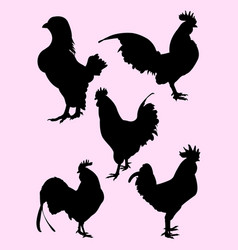 roosters gesture silhouette 05 vector image