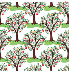 seamless repeating pattern with apple trees vector image