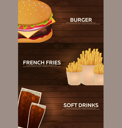 set banners for fast food restaurant burger vector image