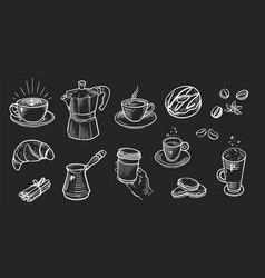 set coffee in retro style drawing with chalk vector image