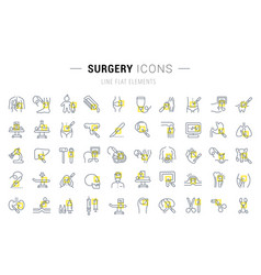set line icons surgery vector image