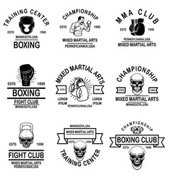 set mma and boxing club emblems design element vector image
