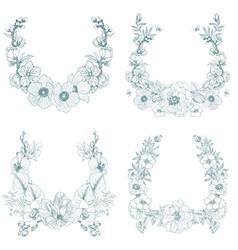 set vintage frame border monogram floral vector image