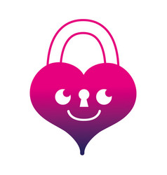 Silhouette smile heart padlock kawaii personage vector