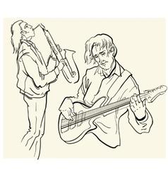 sketch of musicants vector image