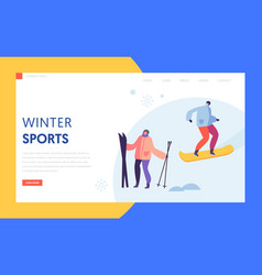 ski resort winter holidays landing page template vector image