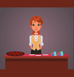 smiling woman casino croupier character vector image