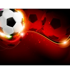 Soccer ball on red background vector image